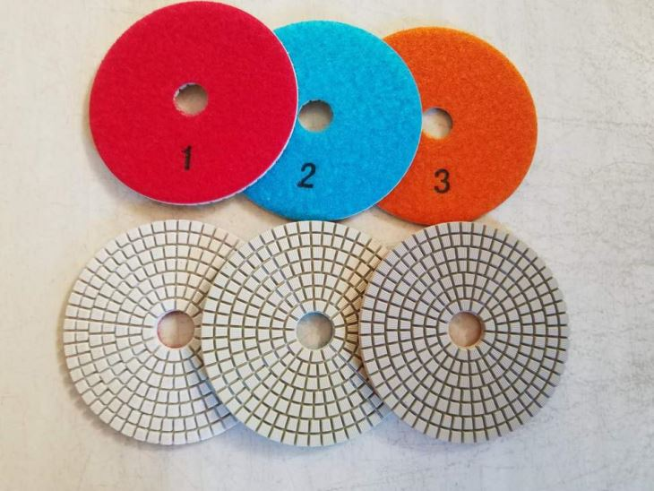 White 3-Step Diamond Polishing Pads For Granite Grinder